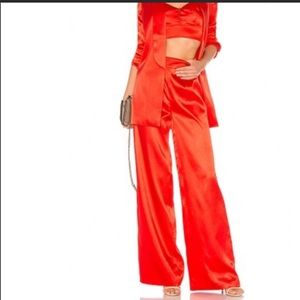 Red Satin House of Harlow Pants